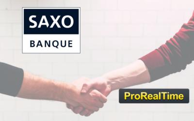 Partenariat entre la plateforme de trading ProRealTime et Saxo, banque et broker.